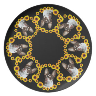 Sunflower Chihuahua dog dinner plate