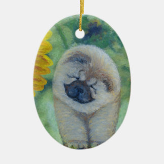 Sunflower Chow Chow Ceramic Ornament