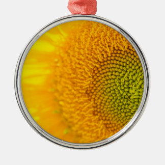 Sunflower Close Up Photgraph Silver-Colored Round Ornament