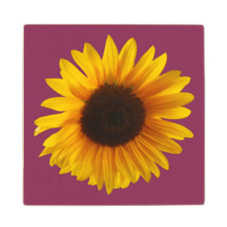 Sunflower Coaster (Wooden) (Gold and Raspberry) Wood Coaster