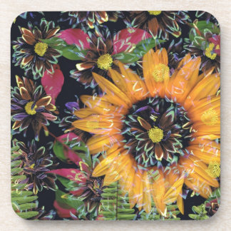 Sunflower collage coaster