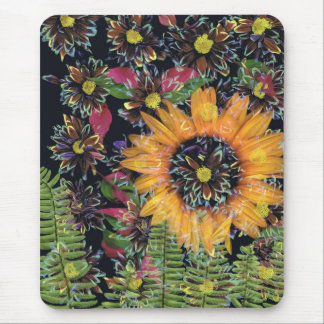 Sunflower collage mouse pad