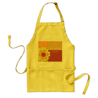 Sunflower Color Block Wedding Save the Date Standard Apron