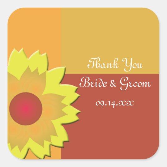 Sunflower Colour Block Wedding Thank You Favour Square Sticker