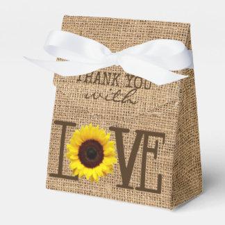 Sunflower Country Burlap Print Bridal Shower Favor Box