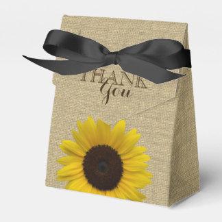 Sunflower Country Burlap Print Favor Box