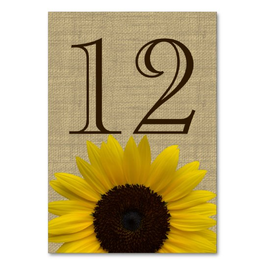 Sunflower Country Burlap Table Number Card