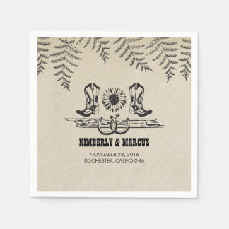 Sunflower Cowboy Boots Rustic Country Wedding Disposable Napkins