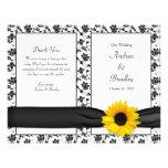 Sunflower Damask Floral Wedding Program