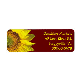 Sunflower Dark Red Skinny Return Address Return Address Label