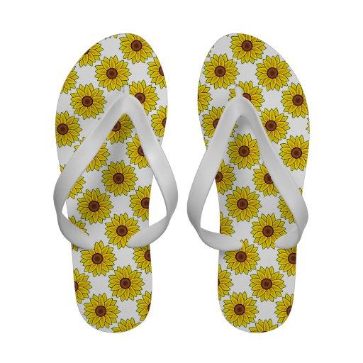 Sunflower Design Flip Flops Sandals