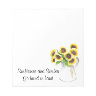 Sunflower design on items notepad