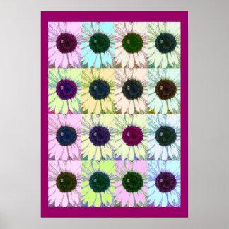 Sunflower Digital Pop Art Sketch Poster