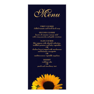 Sunflower Dinner Menu (Navy Blue)