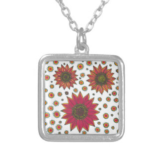 Sunflower Doodle Silver Plated Necklace