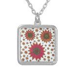 Sunflower Doodle Square Pendant Necklace