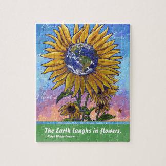 Sunflower Earth Art Jigsaw Puzzle