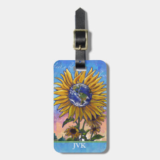 Sunflower Earth Art Luggage Tag