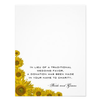 Sunflower Edge Wedding Charity Favor Card Personalized Announcement