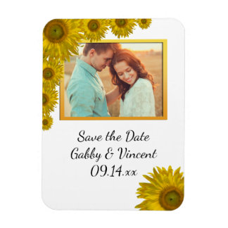Sunflower Edge Wedding Save the Date Photo Rectangular Photo Magnet