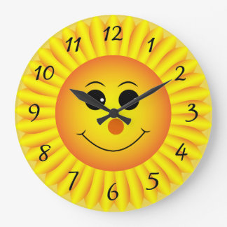 Sunflower Emoji Face Large Clock