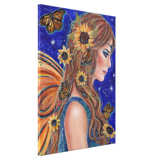 Sunflower fairy with butterflies art by Renee Canvas Print