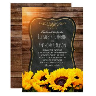 Sunflower Fall Wedding Rustic Chalkboard Card