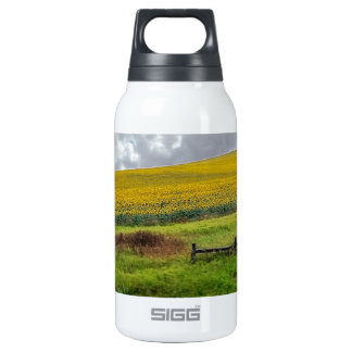Sunflower Farm, wooden fence & phone pole Insulated Water Bottle
