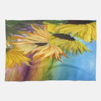 Sunflower Field Throw pillow from my artwork Kitchen Towel
