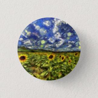 Sunflower Field Van Gogh 1 Inch Round Button