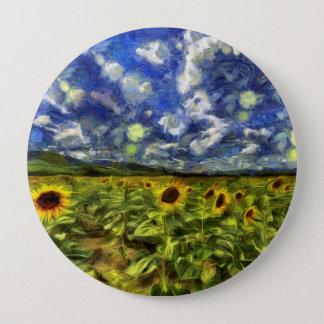 Sunflower Field Van Gogh 4 Inch Round Button