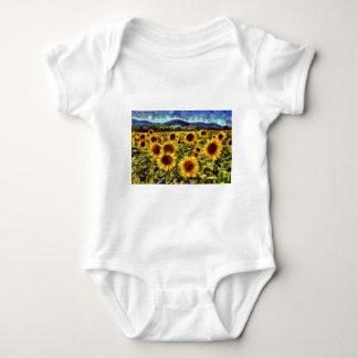 Sunflower Field Van Gogh Baby Bodysuit