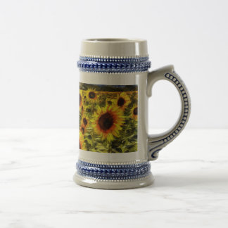 Sunflower Field Van Gogh Beer Stein