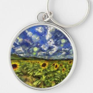 Sunflower Field Van Gogh Keychain