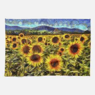 Sunflower Field Van Gogh Kitchen Towel