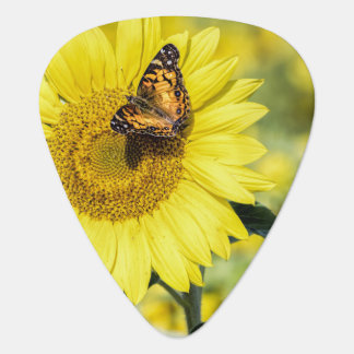 Sunflower Field with Butterfly Guitar Pick