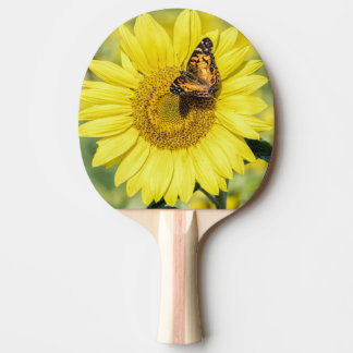 Sunflower Field with Butterfly Ping Pong Paddle