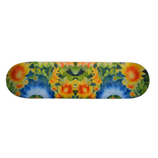 Sunflower fields forever -blue skateboard deck