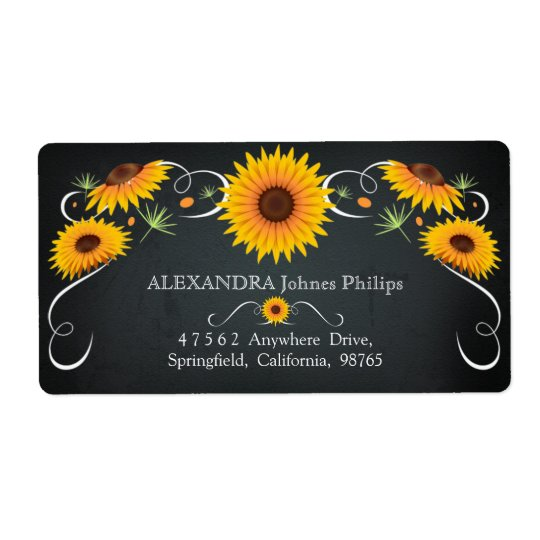 Sunflower Floral Chalkboard Vintage Address Label