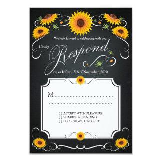 Sunflower Floral Chalkboard Vintage Wedding RSVP Card