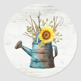Sunflower Floral & Rustic Wood Vintage Cottage Classic Round Sticker