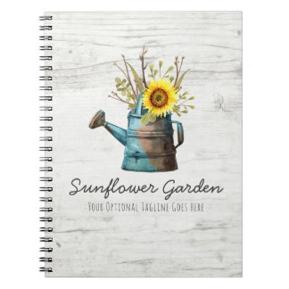 Sunflower Floral & Rustic Wood Vintage Cottage Notebook