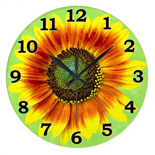 Sunflower Floral Yellow and Green Flower Garden Wall Clock