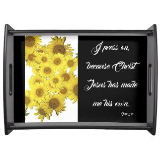 Sunflower Flower Jesus Bible Press On Serving Tray