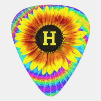 Sunflower Flower Power Tiedyed Retro Monogram Guitar Pick