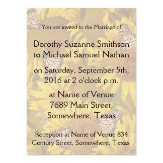 "Sunflower Flowers Butterflies Floral Wedding 6.5"" X 8.75"" Invitation Card"