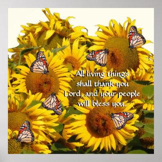 Sunflower Flowers Butterflies Thank God Print