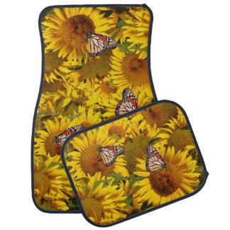 Sunflower Flowers Floral Butterflies Floor Mats Floor Mat