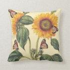 Sunflower Flowers Floral Butterfly Pillow