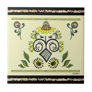 Sunflower Folk Pattern by Alexandra Cook Tiles